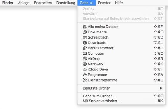 Apple Mac Finder Gehe zu