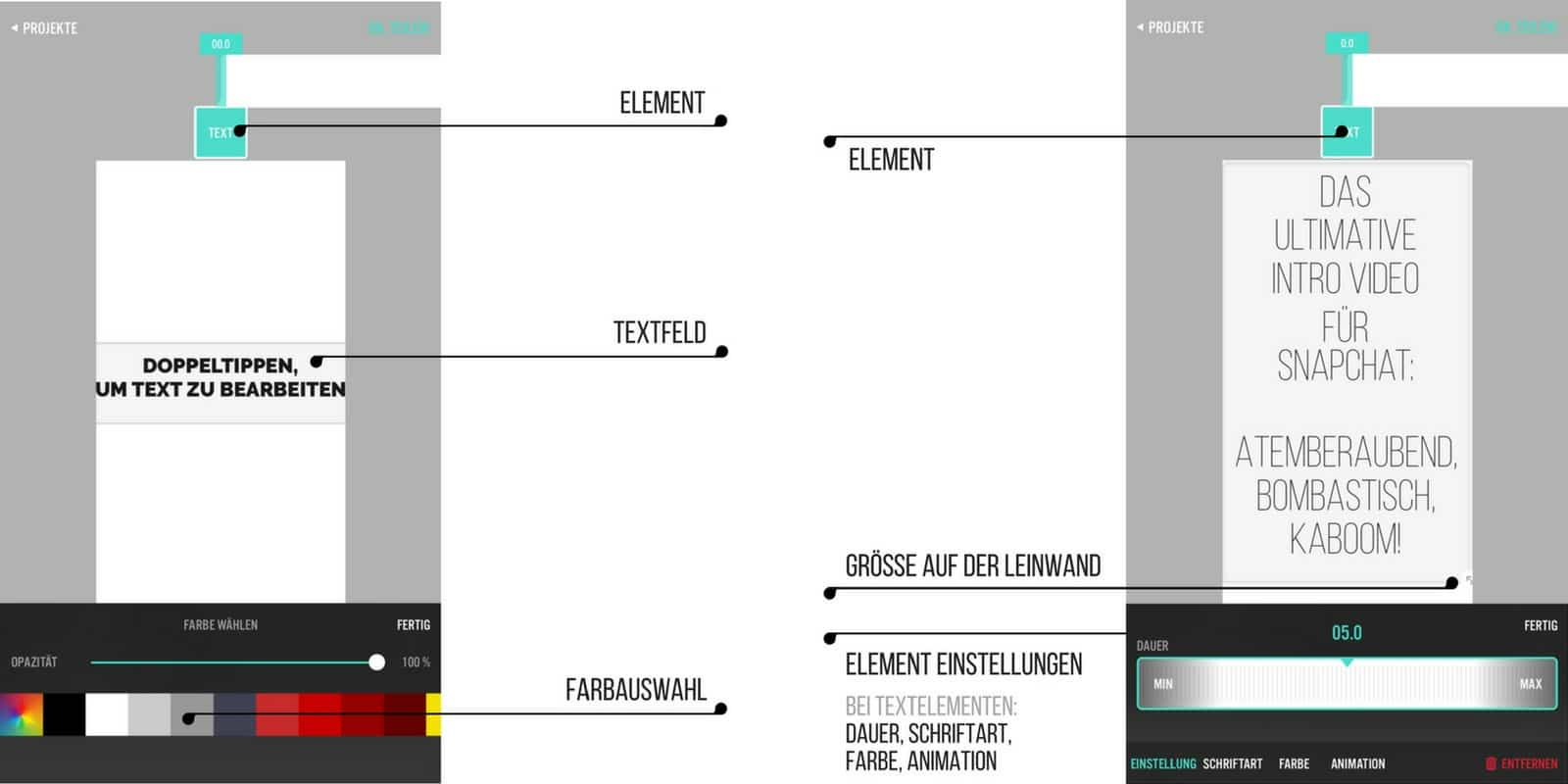 videorama text element