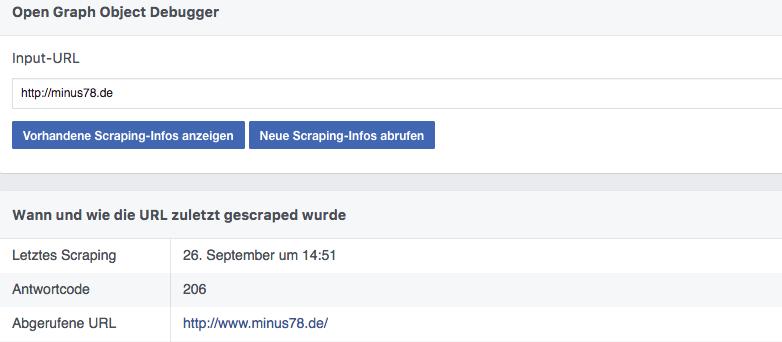 Facebook Debugger mit gescrapten Informationen